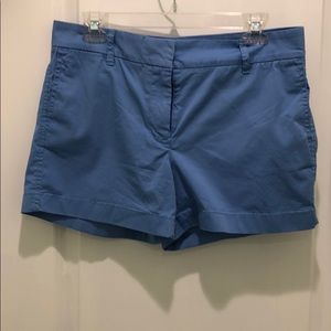 """A pair of blue 4"""" J.Crew chino shorts"""